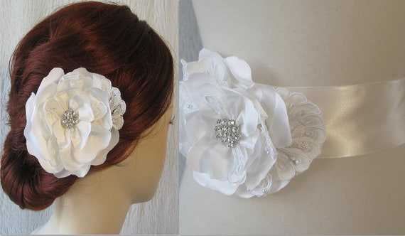 White Bridal Sash and Hair Flower Set, Bridal Belt and Bridal Fascinator, White Wedding Flower Clip and Sash - JACQUELYN