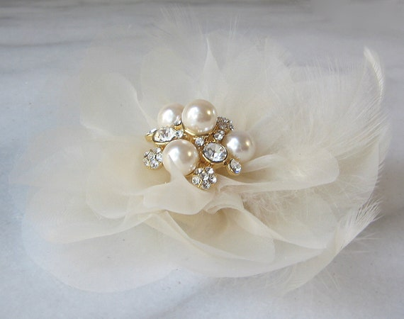 Pale Champagne Organza Hair Flower, Bridal Fascinator, Gold, Handmade Flower Fascinator with Pearls, Rhinestones and Feathers - BEL FIORE