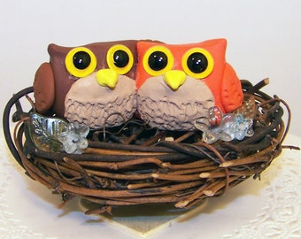 Owl Nest Wedding Cake Topper - Custom Colors of Choice
