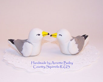 Seagull Beach Wedding Cake Topper