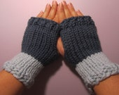 Fingerless Gloves - Blue Hand Knit Fingerless Gloves