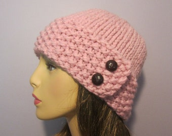 Pink or Pick Your Color Knit Hat with Genuine Leather Buttons - Winter Hat