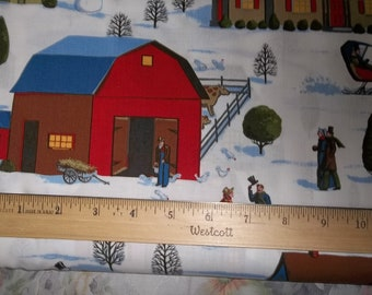 Christmas Snow Day by P and B Fabric Village Print on White Cotton Free Shipping in USA