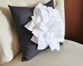 White Dahlia Flower on Charcoal Gray Pillow Accent Pillow Throw Pillow Toss Pillow
