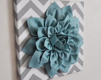 "Wall Flower -Dusty Blue Dahlia on Gray and White Chevron 12 x12"" Canvas Wall Art- Baby Nursery Wall Decor-"