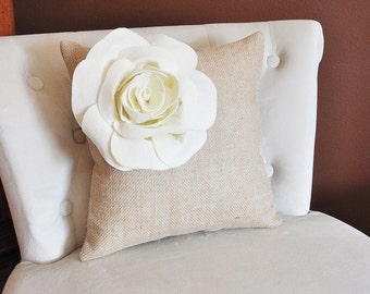 Ivory Corner Rose Flower on Burlap Pillow Accent Pillow Throw Pillow 16 x 16 Toss Pillow Rustic Pillow