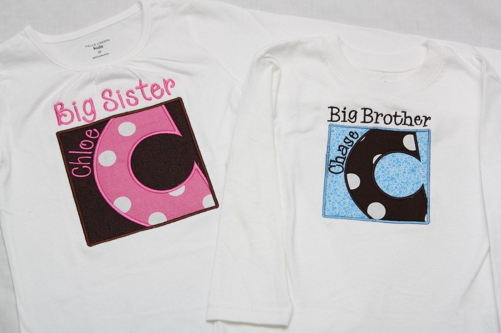 Big Sister Shirt and Little Brother Shirt Box Letter