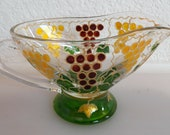 Hand-painted Gravy Boat with White Grapes Design