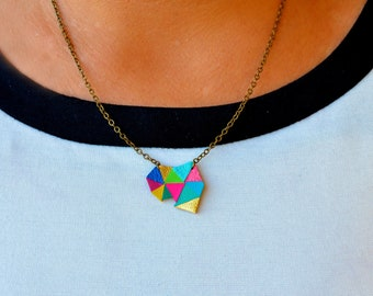 Triangle Pendant Necklace, Minimalist Necklace, Neon Necklace, Color Block Geometric Necklace, Kaleidoscope Rainbow Jewelry