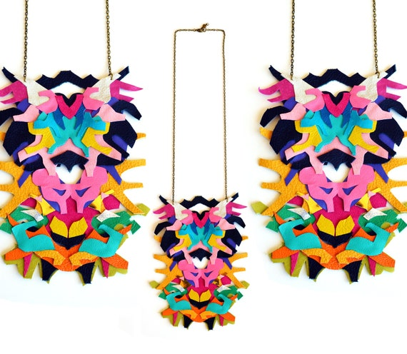 Neon Statement Necklace Leather Color Block Geometric Ink Blot Leather Statement Jewelry