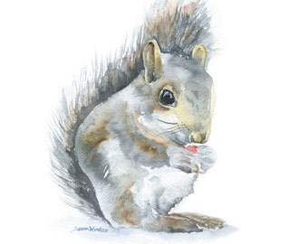 Squirrel Watercolor Painting 8x10 / 8.5x11 Nursery Fine Art Giclee Print