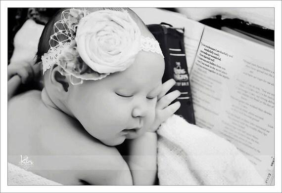 Ivory Flower Headband Vintage Inspired Newborn Photography Prop
