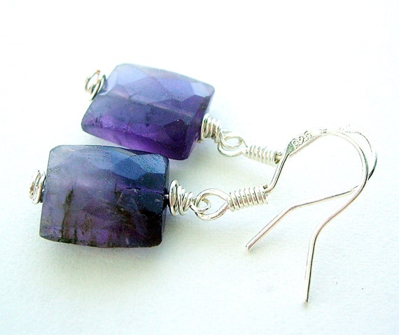 Amethyst Earring - Silver Wire Wrap Earring - Royal Purple - February Birthstone