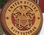 Handmade Wooden Navy Veteran Seal Military Emblem