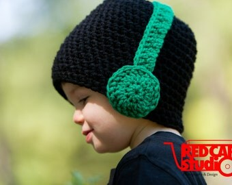 Black Beanie with Color Headphones - Any Color Headphones - Boy or Girl - Available in 6 Sizes