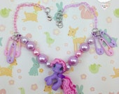 Flying StarSong My LIttle Pony Cutie OOAK Plastic Punk Baby Pink Lavender Plastic Safety Pin Adjustable Necklace