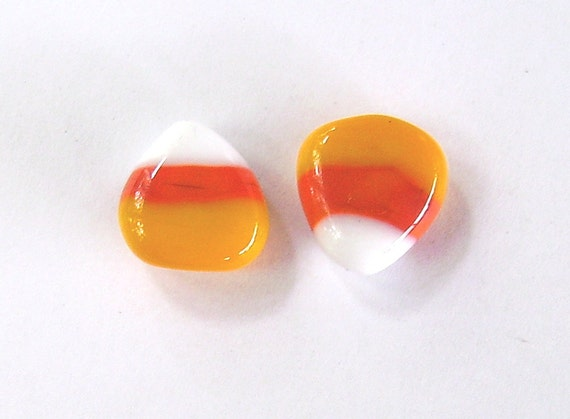 Candy Corn Lampwork Pair