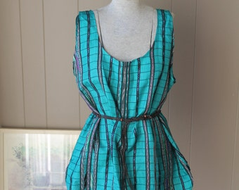 Stolen from the Gypsies 90s Guatemalan Woven Silk Teal Southwest blouse Ikat native silky shirt silk tank sleeveless blouse