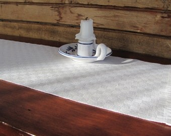Cream White Table Runner, French Country Cottage Decor, Farmhouse Decor, Vintage Antique Rustic Home Decor, Wedding Gift, Handwoven Cotton