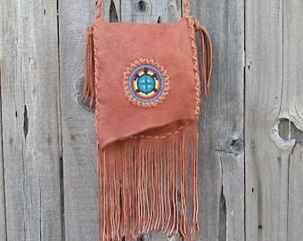 Crossbody bag with beaded turtle totem , Fringed leather handbag