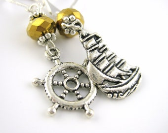 Pirate Ship Earrings -Silver and Gold Jewelry Sexy Womens Pirate Costume Accessory