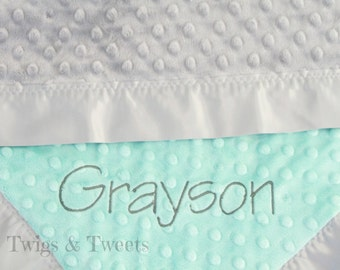 Personalized Minky Baby Blanket, Lovey Blanket with Satin Edges- Bubblegum Pink and White-  You Pick The Colors
