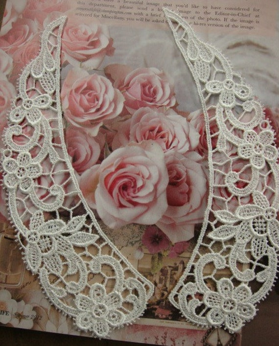 """48 pieces 9"""" length ivory floral venise lace collars in 12 sets for altered your fashion designs"""