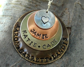 Mixed metal hand stamped Mothers necklace 5 to 8 names!