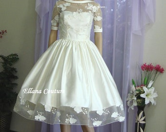 SAMPLE SALE. Vintage Inspired Wedding Dress. Retro Style Bridal Gown.
