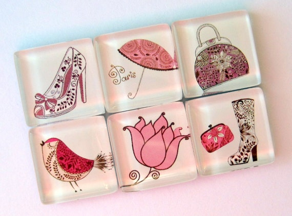 Chic Magnets - Paris Pink - Set of Six Glass Magnets - 1 Inch Square
