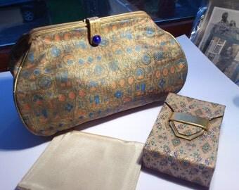 "Vintage 1930 bag/30s glamourous bag/""The Aristocrat"" label/1930 brocade clutch/jacquard/glove strap/1930s bag/Savafid textile?"