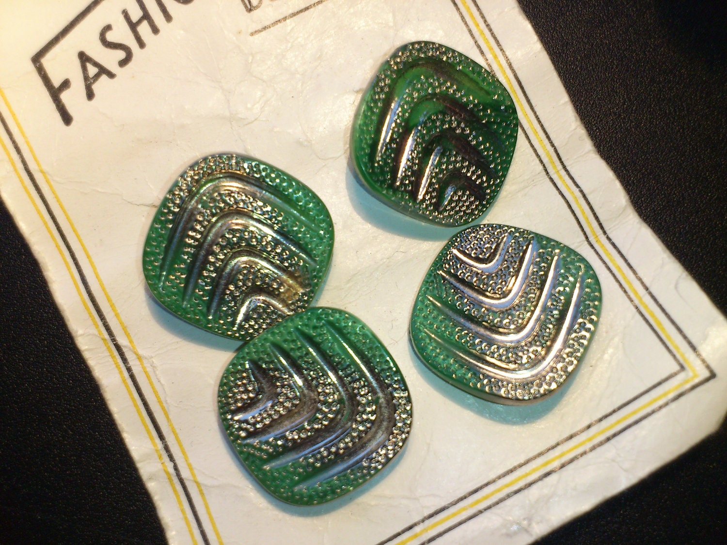 Vintage green and silver glass buttons