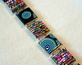 Teal Swirl and Multicolor Stripe Bracelet FREE US SHIPPING
