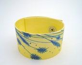 Blue flowers on canvas bracelet