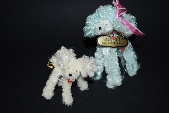 """Vintage 1950's """"Gigi"""" The Playful Pup and Friend Chenille Dogs New with Tags"""