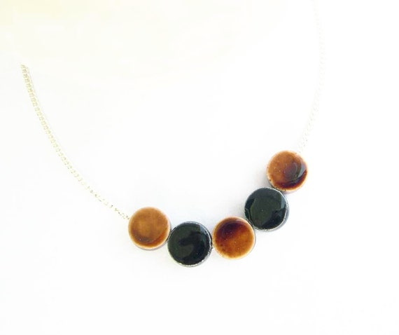 Simple Beaded Necklace - Brown, Black, Minimalist, Ceramic Jewelry, Porcelain, Modern Jewellery, Fall Fashion