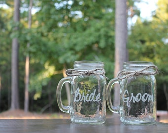2 Mason Jars Mugs, Bride and Groom Mason Jar Mugs, Toasting Mugs, Couples Gift, Couples Mason Jar Mugs, Custom Mason Jar Mugs, Engragement