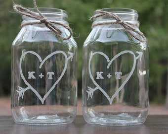 2 Engraved Mason Jars, Personalized Wedding Center Pieces, 2 Quart Mason Jars