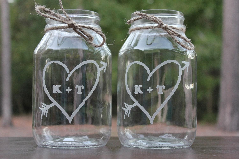 2 engraved mason jars personalized wedding center pieces 2 With custom etched mason jars