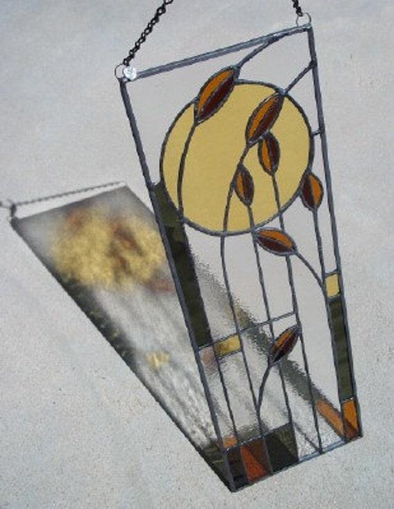 Autumn Wheat Prairie Style Stained Glass Window Panel Suncatcher