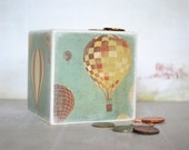 Bank, Hot Air Balloon Wood Piggy Bank  Money bank, Coin Bank Vintage Hot Air Balloon, Baby nursery room decor