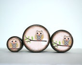 Little Owl Box Set - Set of 3 Wood Box Set Pink Owl Family, Powder Box, Pill Box, Gift Set