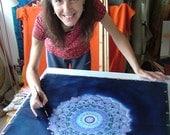 Mandala Silk Painting Workshops in Glastonbury and Bristol with Silk Artist Fiona Stolze