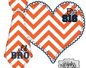 Sports Team Colors Big Sis and Lil Bro Orange and Navy Blue Chevron DIY Iron On Heart and Tie Decal for football team shirts