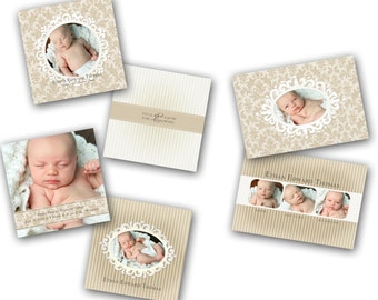 INSTANT DOWNLOAD - Birth announcement photo card templates, 3 pack - 0300-2