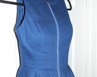 Custom made as ordered Spring cotton dress with exposed zipper full circle skirt fitted bodice