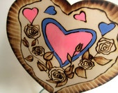 Wedding Cake Topper -Heart and Roses -Personalizable pyrography
