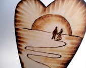 Beach Rustic Wedding Cake Topper -Primitive Silhouette Couple holding hands -Wood Anniversary -Personalizable