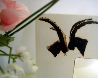 """Camo Wedding Picture Frame 3.7"""" -Wild Goats silhouettes pyrography -Personalizable Wood Anniversary"""