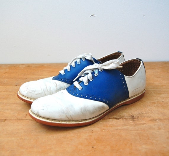 Vintage 1950s Saddle Shoes - 50s Blue & White Spaldings - The Wilma - Size 9.5 N